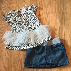 Leopard top with jean skirt